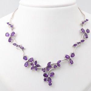 Jewelry - Genuine Amethyst & Silver | Collar Necklace